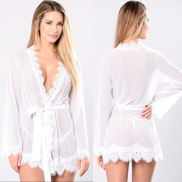 Sexy Lingerie Hot Women  Sexy Robe Set Porno Sleepwear Nightgown Lace Underwear Sex Babydoll Erotic Transparent Dress