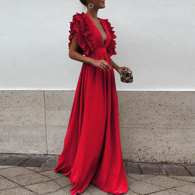 Hirigin Sexy Women Deep V Neck Ruffles Boho Maxi Club Red Dress Bandage Long Dress Party Bridesmaids Infinity Robe Longue Femme
