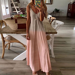 Plus Size Summer Beach Dress for Women Fashion Gradient Sleeveless Long Dress V-Neck Strap Female Vacation Maxi Dress