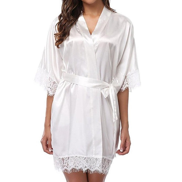 Women's Sleepwears Robes Sexy belt Silk Satin Nighties V-neck Nightgown Nightdress Lace Sleepwear Nightwear Ladies Lingeries