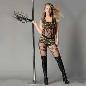 Sexy Role Play Military Tops and Shorts Camouflage Masquerade Fancy Outfits Halloween Women Army Costume Soldier Cosplay 7007