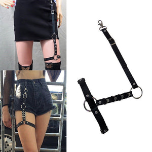 Women's Leather Single Leg Body Harness Belt