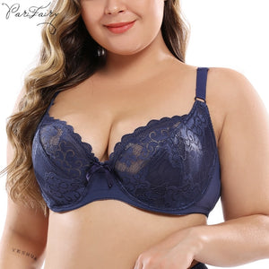 PariFairy Sexy Sheer Lace Perspective Women Bras Lingerie Top Floral Plus Size Underwear D DD E DDD 80 85 90 95 100 105