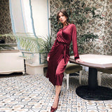 Women Casual Silk Sashes Sexy a Line Party Dress Ladies Long Sleeve v Neck Elegant Split 2019 New Fashion Midi Dress Vintage