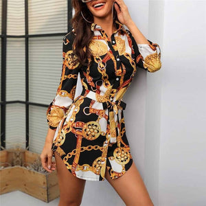 New Arrival 2020 Summer Fashion Plus Size Dress Women Long Sleeve Chain Print Shirt Dresses Ladies Casual Mini Dress Ropa Mujer