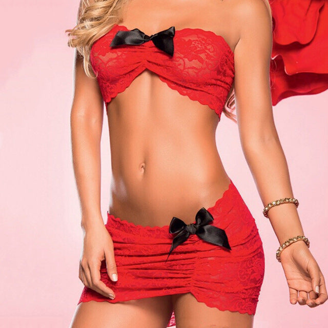 New With G-string Nightwear For Women  Sexy Lingerie Set Babydoll Lace Underwear Dress Black/Red Colors 1 X Bra+ 1 X Panty