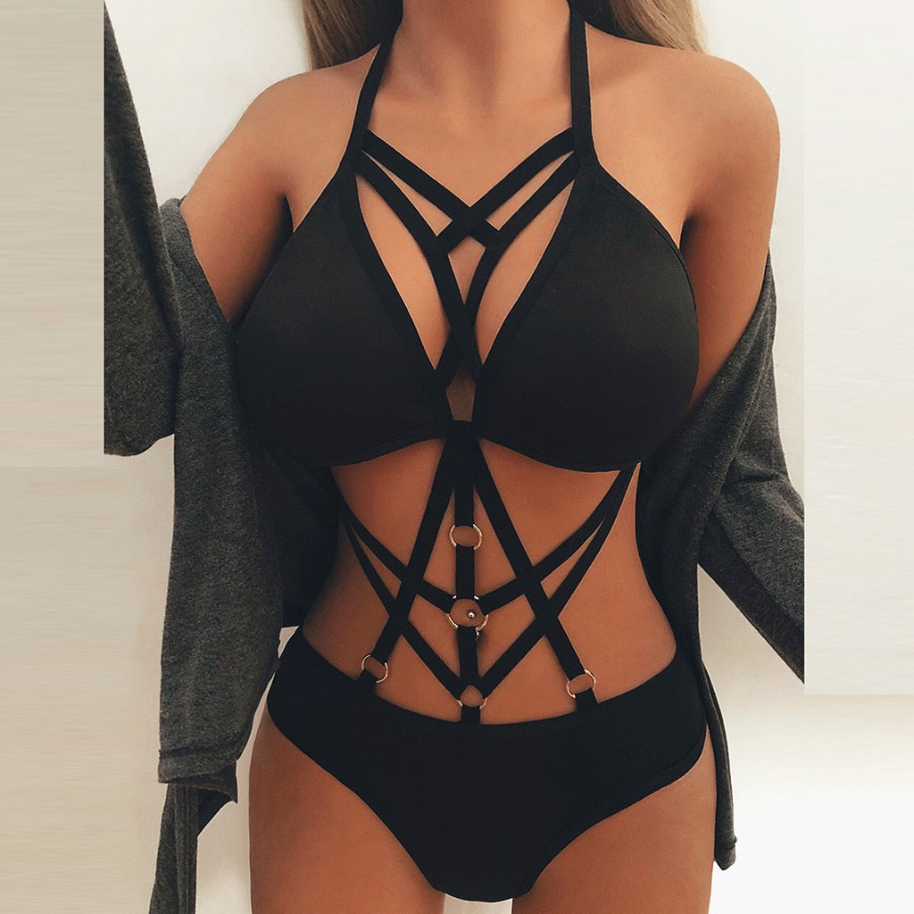 Swimwear Women Sexy Black One Piece Swimsuit Women Bandage Bikini Rainbow Lace Bikini Bustier Crop Top Sheer Unpadded Bra#y2