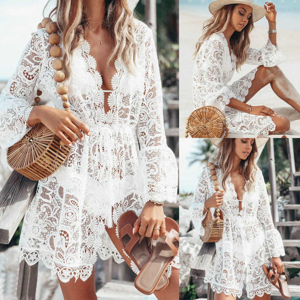 2019 New Sexy White Lace Dress Women Ladies Fashion Summer V Neck Sexy See Through Lace Bell Sleeve Holiday Beach Mini Dress