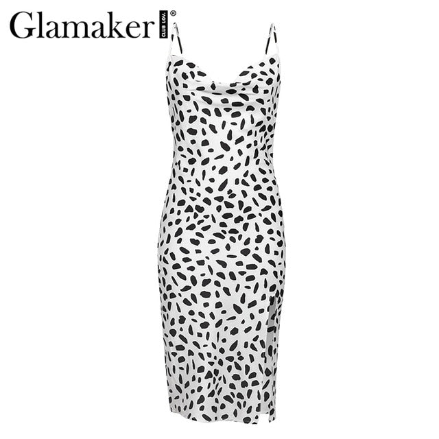 Glamaker Polka dot ruffle split midi dress Women v neck pleated bodycon dress Female autumn winter elegant party club sexy dress