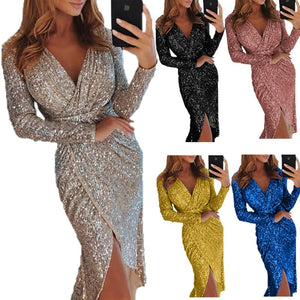Sexy Golid Silver Glitter Dresses For Women Deep V Neck Sequin Midi Bodycon Dress Autumn Winter Long Sleeve Dinner Party Dress