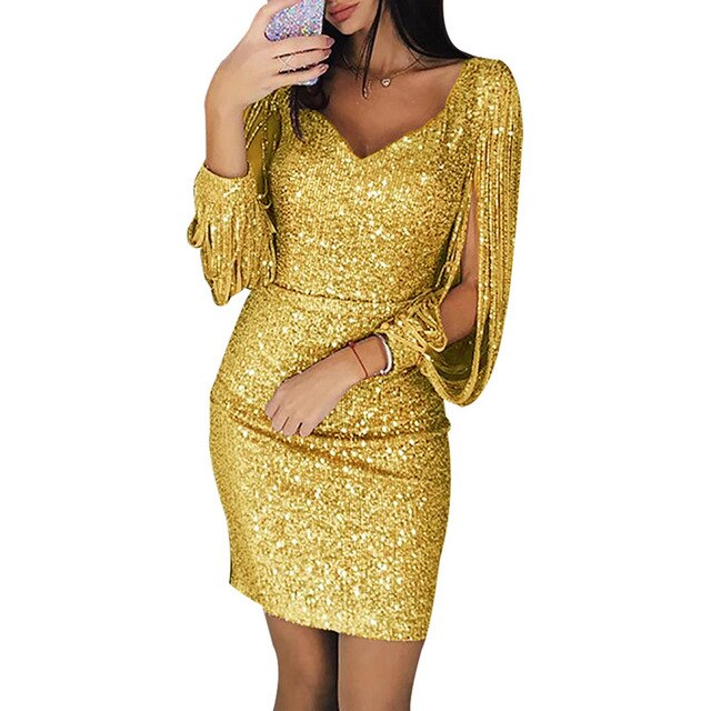 Women Sexy fashion Sequined Stitching Shining Club Sheath Long Sleeved Mini Dress Slim soft touch dresses summer new arrival