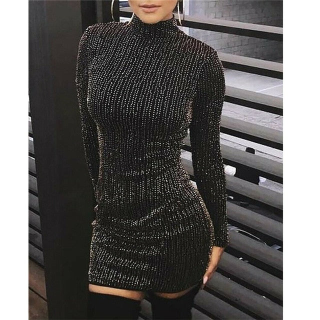 2019 Sexy Women Long Sleeve Sequin Split  Females New Clothing Sexy Dress Fashion Hot Sale Dress Ladies Evening Party Dresses