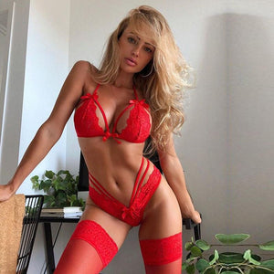 Sexy Lace Underwear Set Red Women Fashion Wireless Bow Bra Low-Rise Thong Plus Size Lingerie Set Intimo Donna 2019 New Hot E