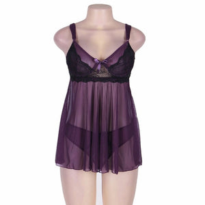 Purple straps lace mesh nightdress see through woman sexy lingerie porn clothes erotic babydoll dress mini sleep chemise WR80274