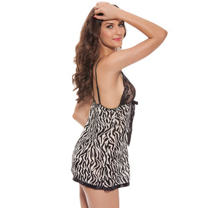Women Leopard Zebra Sexy Lingerie Mesh Babydoll Erotic Chemise Transparent Halter Porno Sex Underwear with G-thongs 6501
