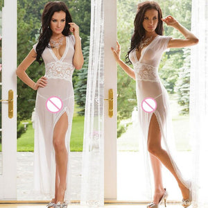 Sexy Long Night Gown Transparent Sheer Mesh Night Dress Erotic Long Lingerie Women Sexy Nightwear Sleepwear Black Red White