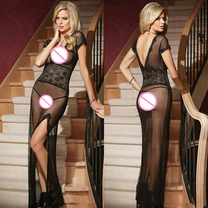 Evening Dress Solid Sexy Lingerie Women Underwear Long Dressing Night Gown Sheer Transparent Tracksuit