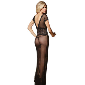 F Sexy long dressing night gown sheer transparent dress evening nightgown nightie sleepwear lingerie women Newest