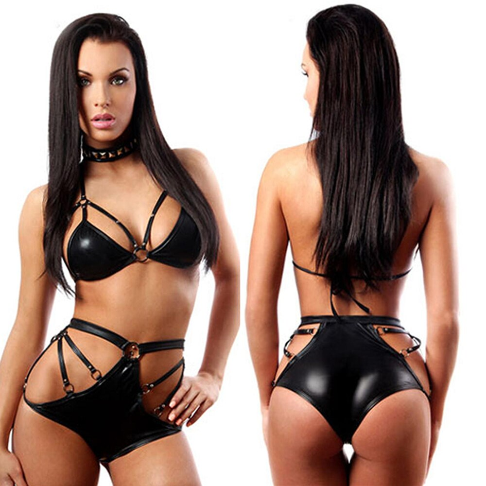 Erotic Sexy Black Negligee Vinyl Bikini Set Exotic Apparel Cheap Fashion Underwear Vinyl Leather Lingerie Latex Catsuit