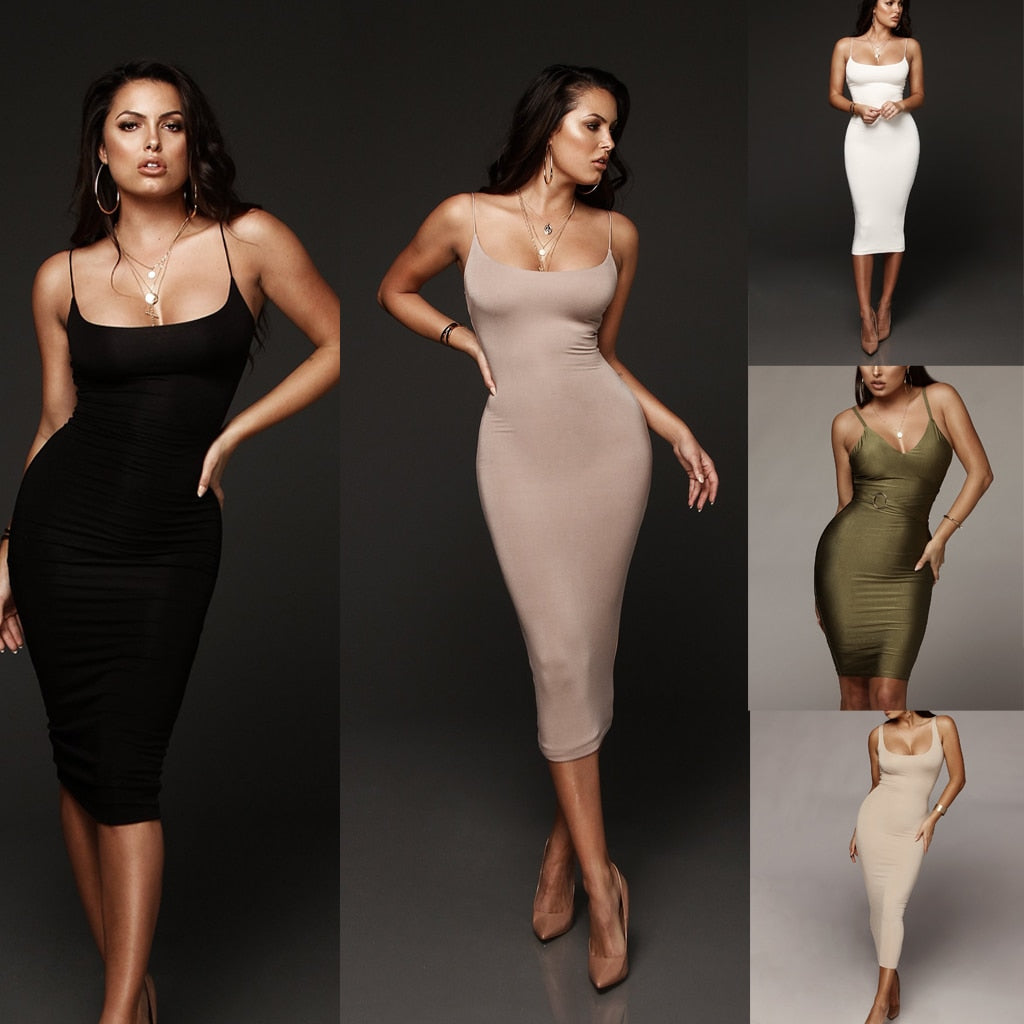 Hot New Women's Bandage Dress Sexy Bodycon Sleeveless Top Solid Knee-length Evening Party Club Midi Dress