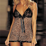 Leopard Silk Nightdress Sexy Satin Underwear Lace Camisole Shorts Set Lingerie Women S-XXL Soutien Gorge Sexy Erotique 30NOV21
