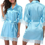 Sexy Lingerie Women Patchwork Nightgown Sleepwear Women Sheer Silk Satin Nightwear Chemises Dress
