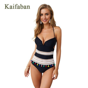 6 Color Women Strap Halter Monokini One Piece Bikini Mesh Patchwork Brazilian Swimsuit Swimwear Deep V Swim Suit Wear Tankini