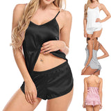 2020 Women Sexy Strapless Bodysuit Simulation Silk Thin Pajamas Set V-neck Camisole Sleeveless Shorts Sleeping Wear Backless