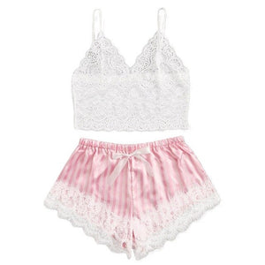 Women V-Neck Heart Print Lace Satin Camisole Pajamas Bowknot Shorts Lingerie Set female pajamas set mujer nightie home clothes#1
