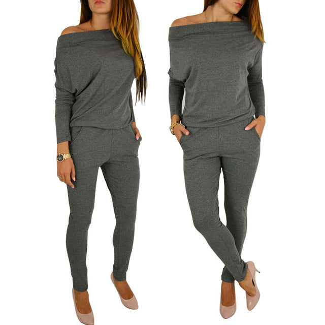 High Quality Spring Summer Women Jumpsuit Fashion Elegant Off Shoulder Casual Long Sleeve Jumpsuits Lady Boysuit