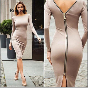 Women Bodycon Sexy Club Midi Dress Winter Autumn Sheath O-neck Long Sleeve Party Tight Back Zipper Dresses Dress