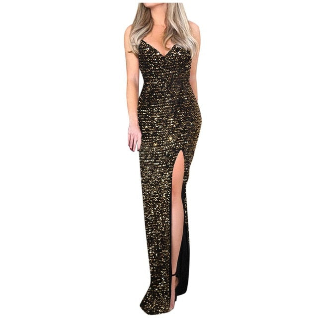 Sleeveless long sequin dress Women high slit spaghetti strap dresses Sexy V neck club party dress Maxi black sequined vestido *