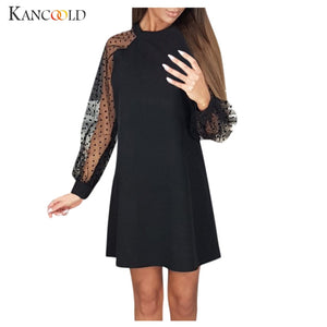 KANCOOLD Women's Sweet Fairy Autumn New Fashion Dot Stitching Transparent Medium Long Shirt Dress Long Sleeve  Sexy Mesh Dress