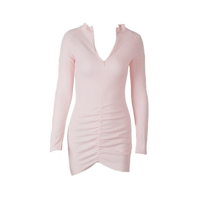 UCNYE pink knitted long sleeve women dress autumn elegant female zipper pleated solid mini bodycon dress office women clothing