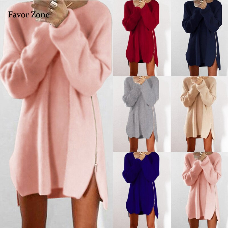 Sweater Dress Women Autumn Winter O-neck Pullover Loose Long Sleeve Zippers Knitted Cotton Warm Dress Sexy Mini Party Dresses