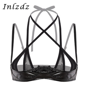 Women's Latex Leather Bra for Sex Wetlook Lingerie Halter Neck Adjustable Spaghetti Shoulder Straps Front Cross Shelf Bra Top