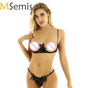 MSemis Women Femme cLace Transparent Stripper Micro Bikini Set Exposed Breasts Underwired Shelf Bra G string Exotic Lingerie Set