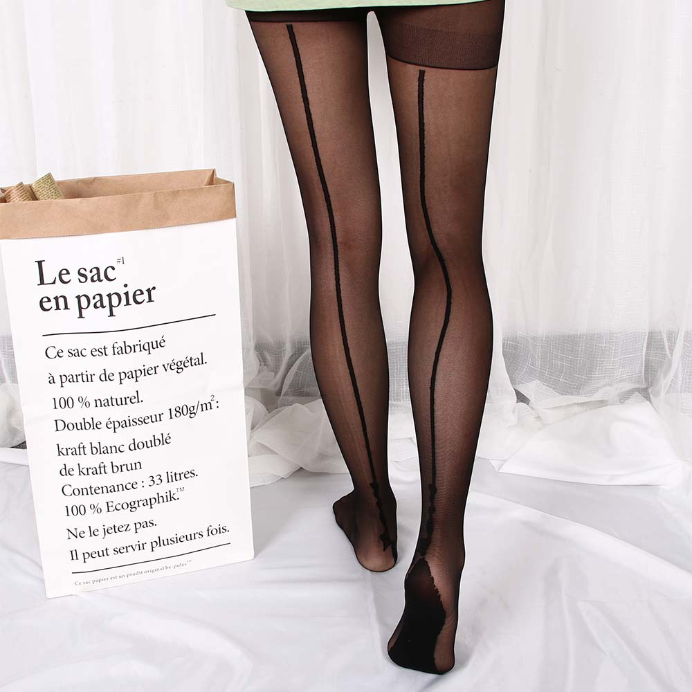 1 pair Women Lady Tigh Stockings Pantyhose 2 Colors Stylish Retro Sexy Jacquard Backside Line English Love Letter Tattoo Tights