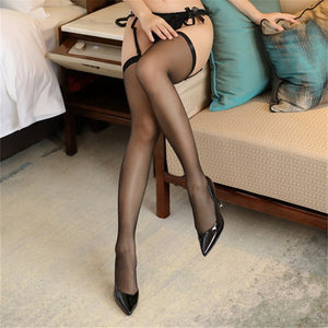 Women's Transparent Sexy Stockings Retro Thigh High Stockings Female Intimate Long Nylon Stockings Sexy Lingerie Medias De Mujer