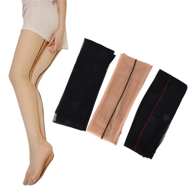 Women Female Black Skin Thigh High Stocking Ultra Thin Transparent Pantyhose Back Seam Sexy Stockings