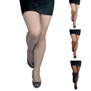 Women Plus Size 15D High Stretch Pantyhose High Waist Summer Ultra Thin Sheer Tights Stocking Seamless Solid Color Slim