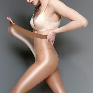 60D plus size Women's Sheer Sexy Shiny Glossy Oil Pantyhose Tights thick good quality One Line Crotch oil Stockings
