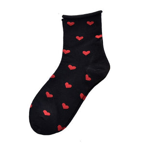 SP&CITY Women Cute Love Patterned Hemming Socks Solid Joker Cotton Socks For Ladies Comfortable Cool New Year Gift Socks Tide