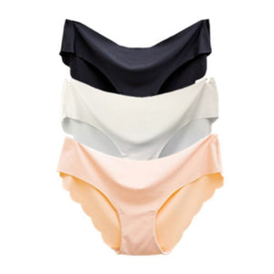 3 Pack ! Solid Ladies Women Seamless Panties Ice Silk Underwear G String Underpants Sexy Lingerie Briefs Hipster Intimates