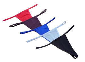 Moxeay 5 Pack Women's Sexy Bikini Thong Cotton Solid Color Micro Underwear Low Waist Invisible G Strings And Thongs For Women