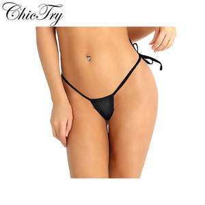 Sexy Female Women Mesh See Through Sheer Lingerie Thongs Low Rise Tie-Side T-Back Mini G-String Bikini Briefs Triangle Underwear