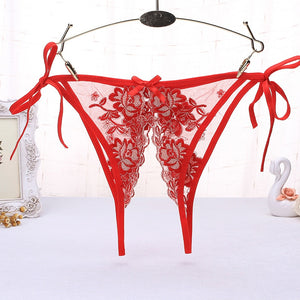 High Fashion Open Crotch Panty Women Sexy Side Tied Underwear