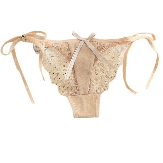 Womens Sexy Low Waist Cotton Underwear Solid Color Side Tie Bowknot Lingerie Thong Sheer Floral Lace Patchwork T-String Panties