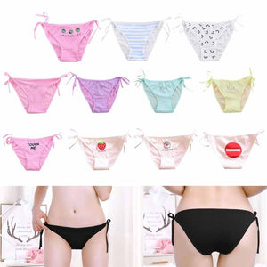 Sexy Side Tie High Cut Underwear Cartoon Fruit Funny Words Printed Lingerie Panties Candy Color Low Rise Cotton Bikini Thong