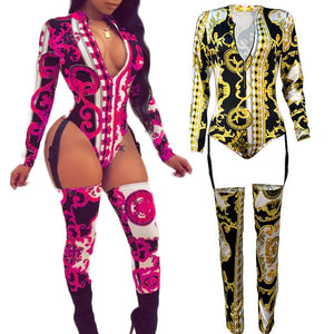 Sexy nightclub Dance Costumes Vintage Gold Totem Garter Jumpsuit Nightclub Bar Female Singer DJ Rave Clothes Women Birthday Wear